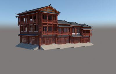 中式吊脚楼,仿古小镇商铺楼su模型