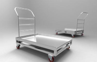 食堂,工厂用的万向轮运货平板车模型,STP,IGS,X_T三种格式