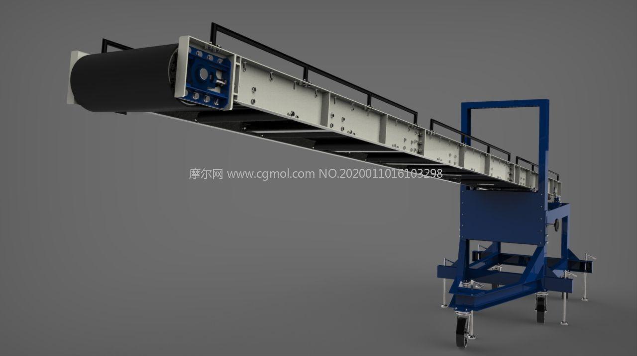 可移动的装载输送机,货物传送机Solidworks图纸模型