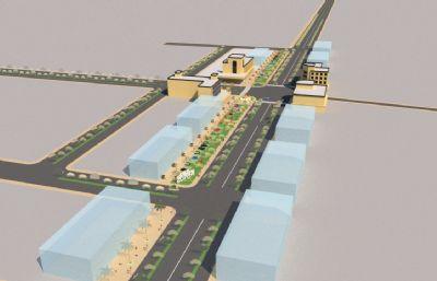 一��城�^的普通街道道路su模型