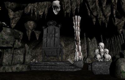 白骨精山洞,骨骸,枯树,河流,铁链,山体内部场景3D场景,丢失一张铁链的贴图,其他齐全