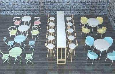 桌椅,餐桌椅奶茶店,餐�d休�e座椅C4D模型,�����L格