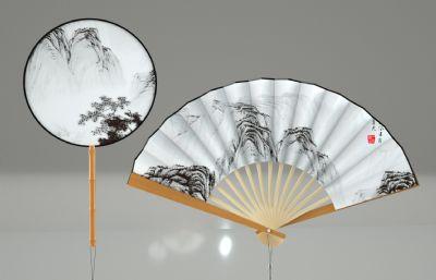 中式古典扇子,竹扇,折扇,�F扇C4D模型,精��Y��
