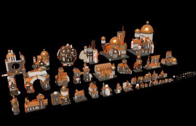 ��克工�I�L格建筑,房子,城堡等建筑FBX模型(�W�P下�d)