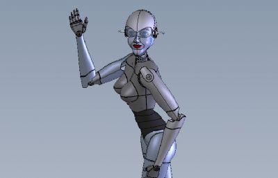女性機器人,女機器人管家solidworks模型,還有STEP格式