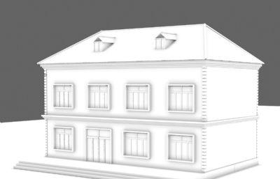 双层健身房大楼3D模型,无贴图