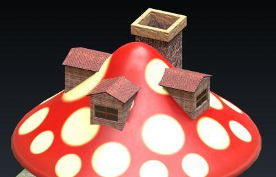 蘑菇小屋,蘑菇小房子3D模型OBJ格式