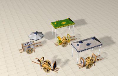 傘及嘞嘞車3D模型素模,無貼圖