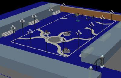 阿克齊居委會休息廣場3D模型