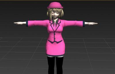 著粉色服�b的工作女孩3D模型,DDS�N�D