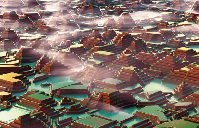 金字塔古建筑群落C4D模型