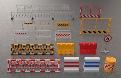 路障,施工护栏,公路护栏,人行道护栏,路标,路牌,交通公共设施C4D模型,Octane渲染