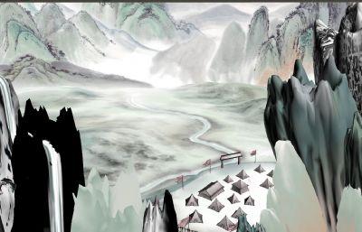 山�g��I,水墨山水�赢�3D模型