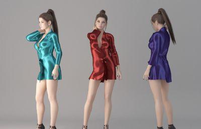 高挑�B�w短睡衣女孩美女3D模型