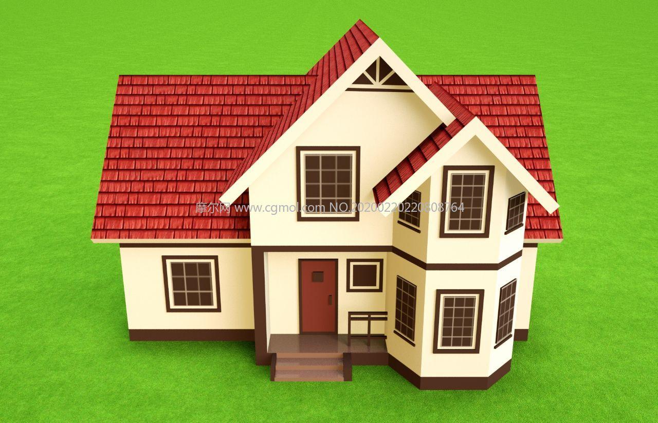 小房子,�e墅住宅,瓦房建筑C4D模型