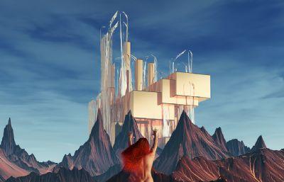 冰�c火之歌Melisandre梅��珊卓星球裸�w�鼍�C4D模型