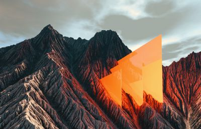 橙色三角�纳襟w里升起�鼍�C4D模型