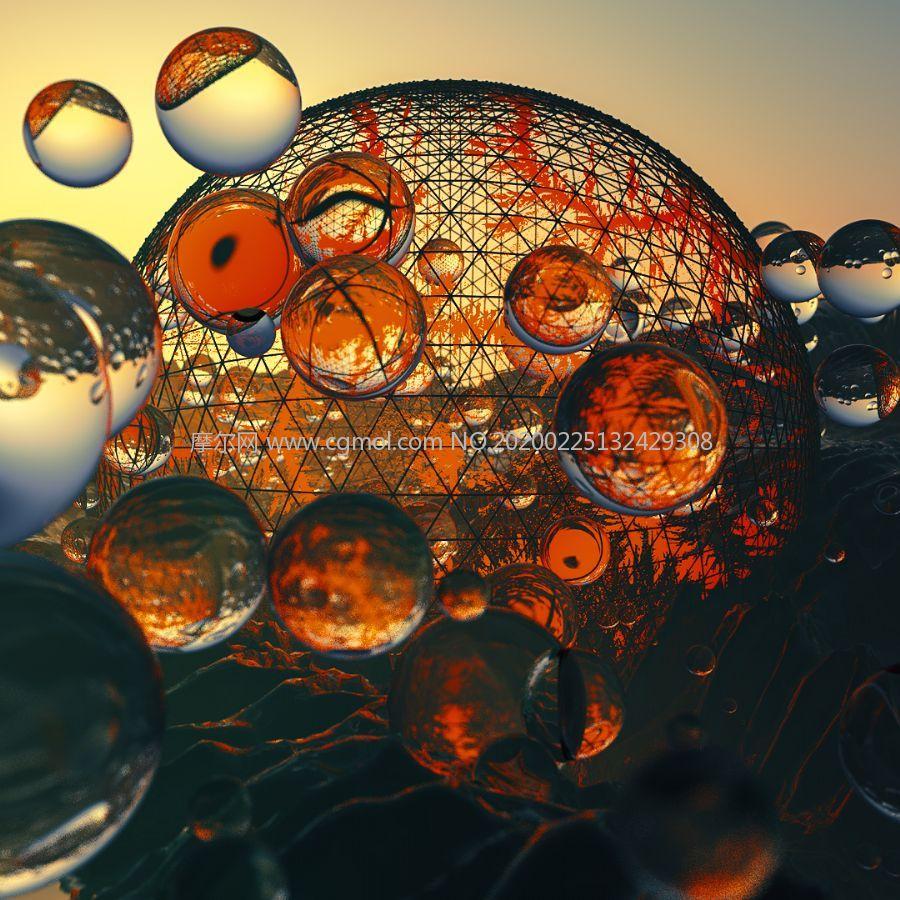 �艋猛该鞑A�球,玻璃珠C4D模型
