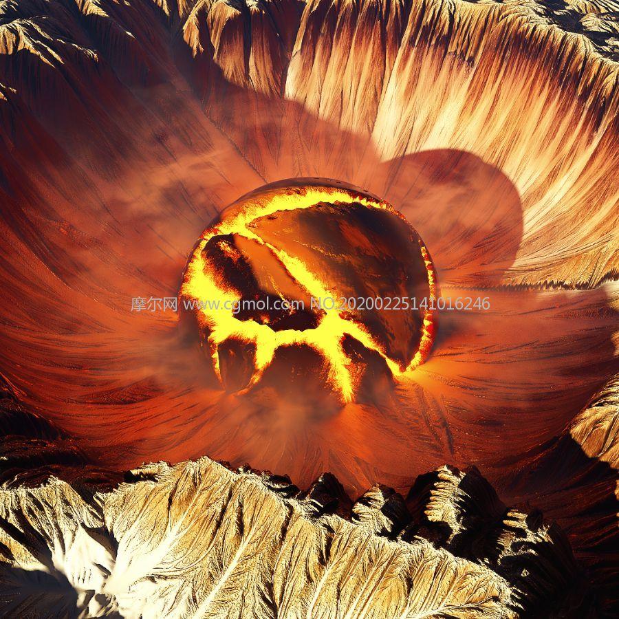 火山口,火山坑C4D模型