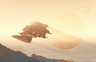 外星球外星人�w船基地�鼍�C4D模型