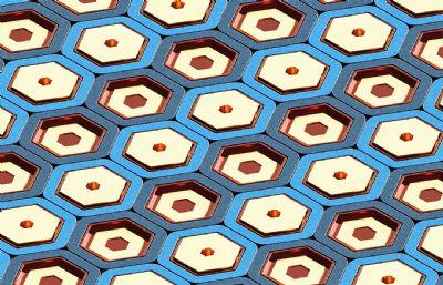 凹凸六边形蜂巢结构平面C4D模型