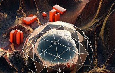 山�球型天�w�^�y站C4D模型
