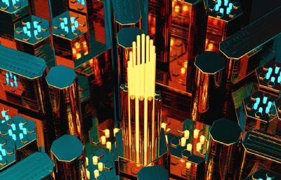 六�形方柱上下震��鼍�C4D模型