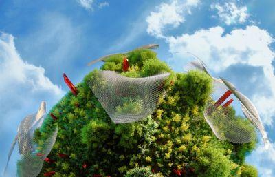 �A球上生�L的�G植植被C4D模型