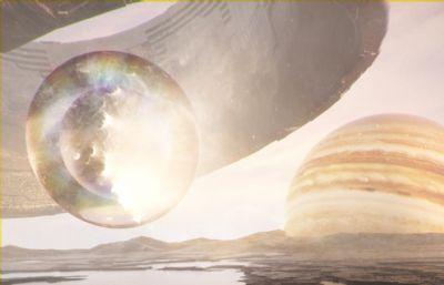 光彩�Z目的外星球落日�鼍�C4D模型