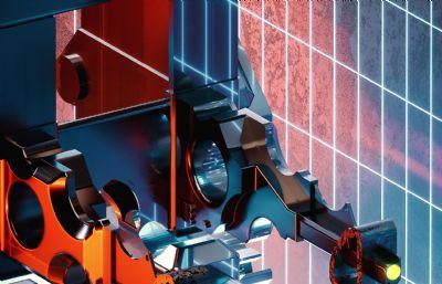 大型機械金屬配件C4D模型二