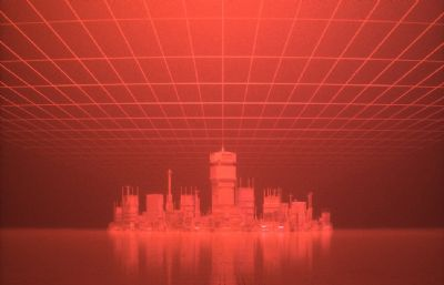 �W格空�g下的城堡建筑C4D模型,Octane渲染
