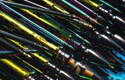 一堆造型獨特的鋼筆C4D模型