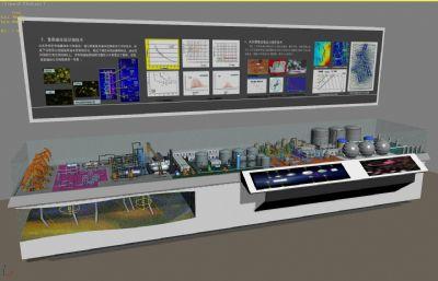 石油--�合站,博物�^�列沙�P展示3D模型