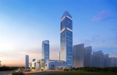 现代简约高层建筑商业中心su模型