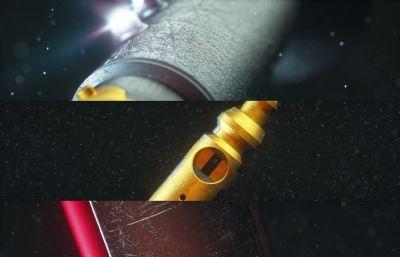 金屬機械軸承,轉軸C4D模型,Octane渲染