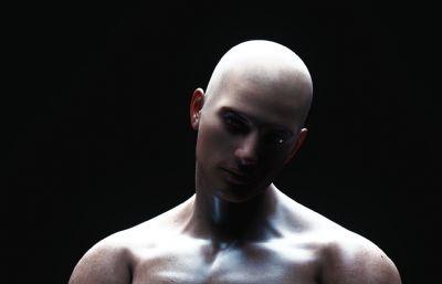 肌肉男拳击手-表示时间到C4D模型