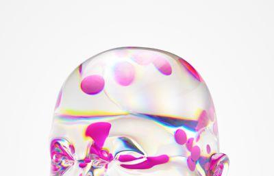 彩色透明水晶头部C4D模型