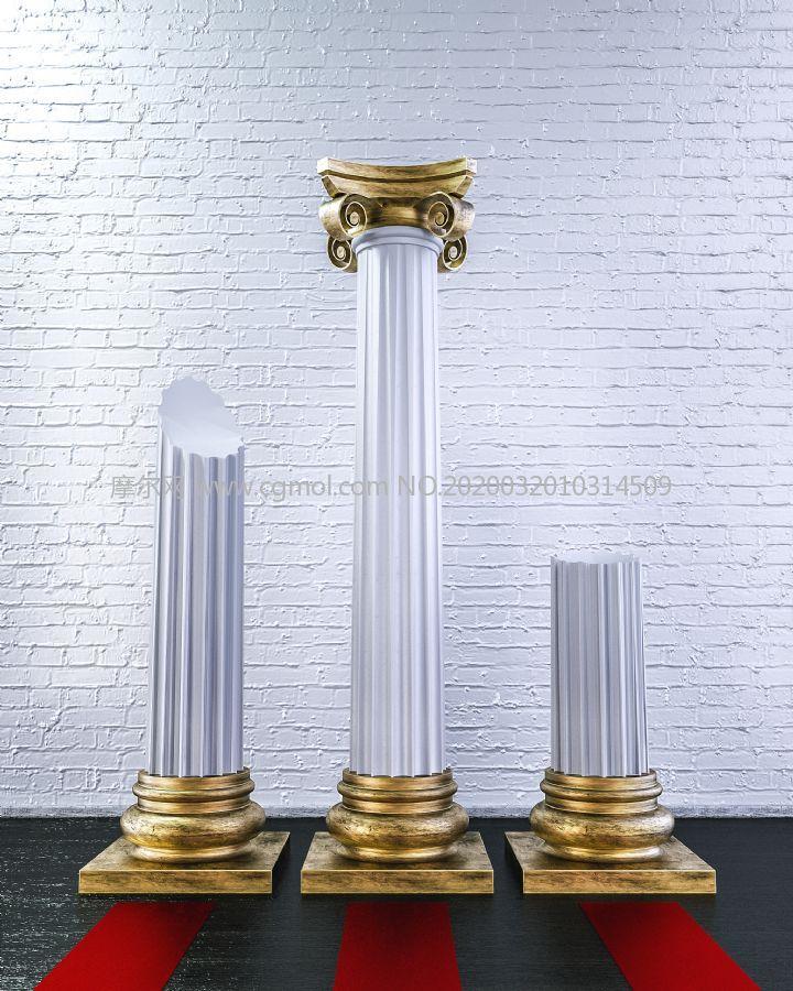 罗马柱,柱子展示展览C4D模型