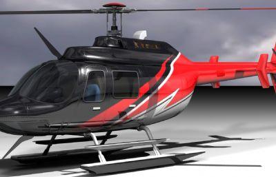 JETRANGER直升�C,私人�w�C模型,FBX,OBJ�煞N格式,白模