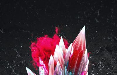 耀眼的彩色水晶冰晶C4D模型