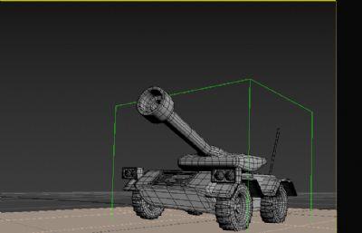 行進中的坦克3D模型,帶行走動畫
