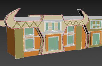 牛角藏式�L格�T面3D模型