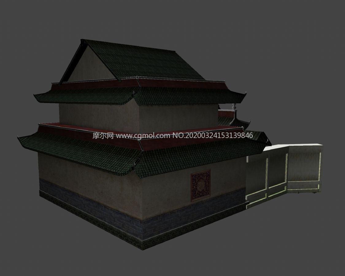中国古代城隍庙单体建筑maya模型
