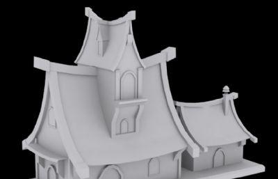 卡通小屋小房子,白模,低模