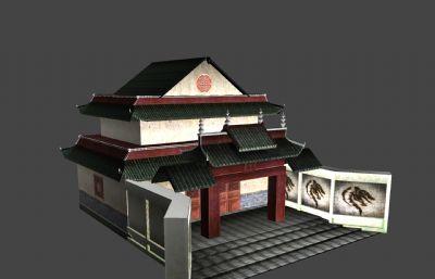 中��古代城隍�R�误w建筑maya模型