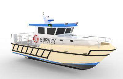 11米長的小型測量船,測繪船STEP格式模型