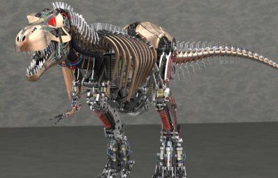 精细仿生机械恐龙solidworks图纸模型