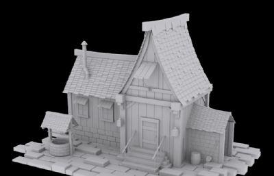 帶古井的卡通風格小木屋3D模型