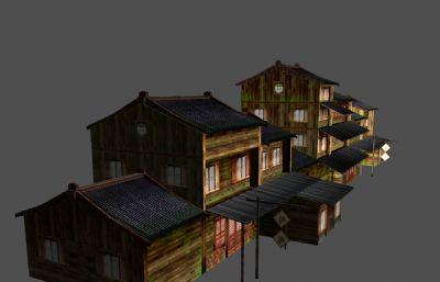 中国古代居民街maya模型,贴图需要复制几张一样的