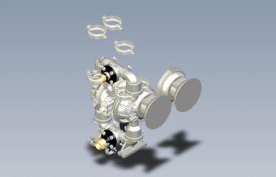 氣動隔膜泵模型,STEP格式